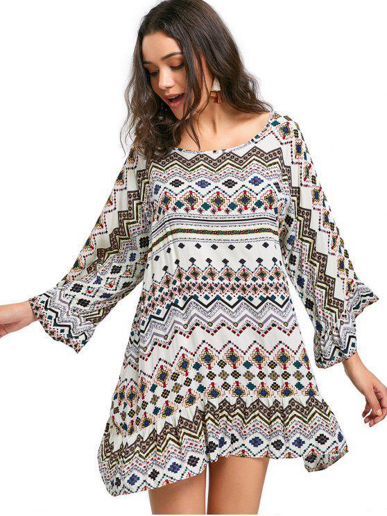 chic Printed Ruffle Trim Long Sleeve Dress - APRICOT 2XL