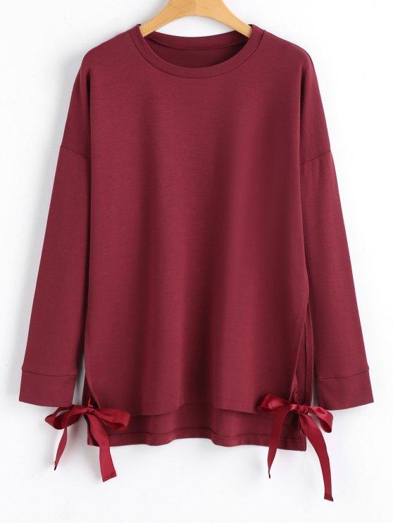 lady Loose Bow Tied Slit Sweatshirt - WINE RED L
