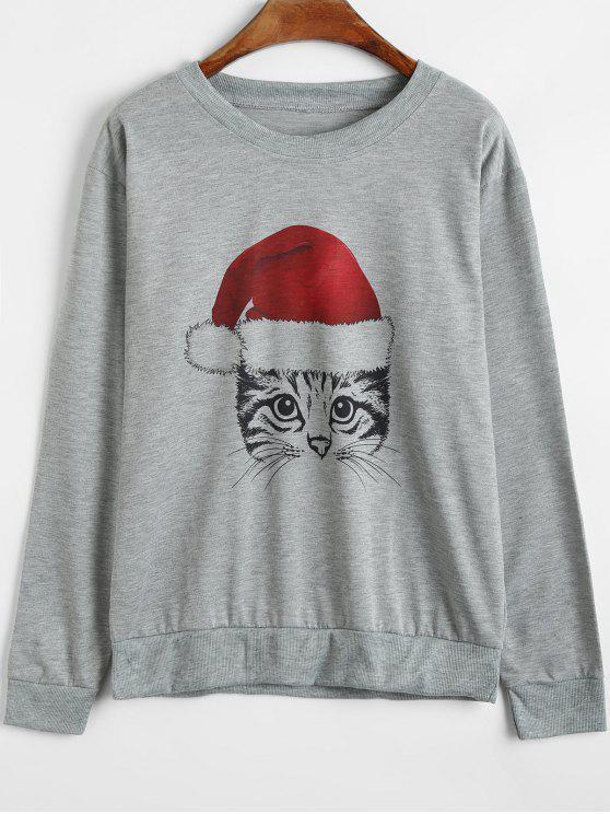 shop Christmas Cartoon Cat Sweatshirt - GRAY S