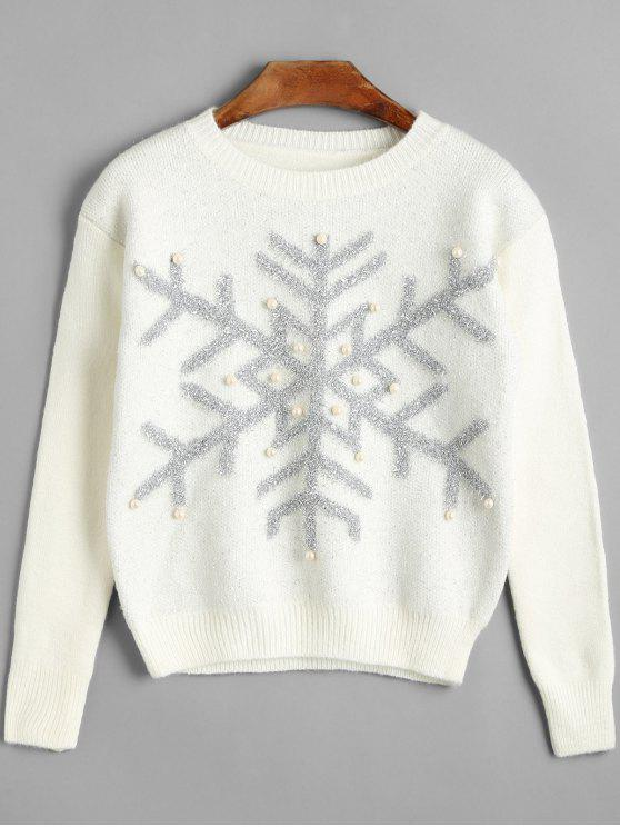 fashion Beaded Christmas Snowflake Sweater - WHITE ONE SIZE