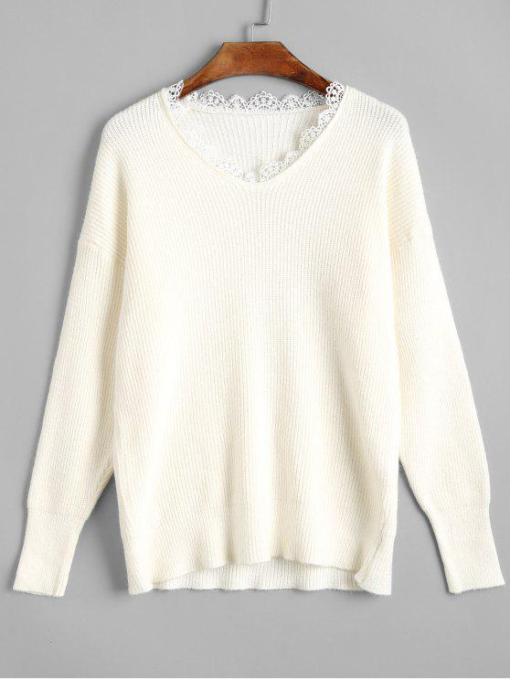 buy Slim Fit Scalloped V Neck Sweater - OFF-WHITE ONE SIZE