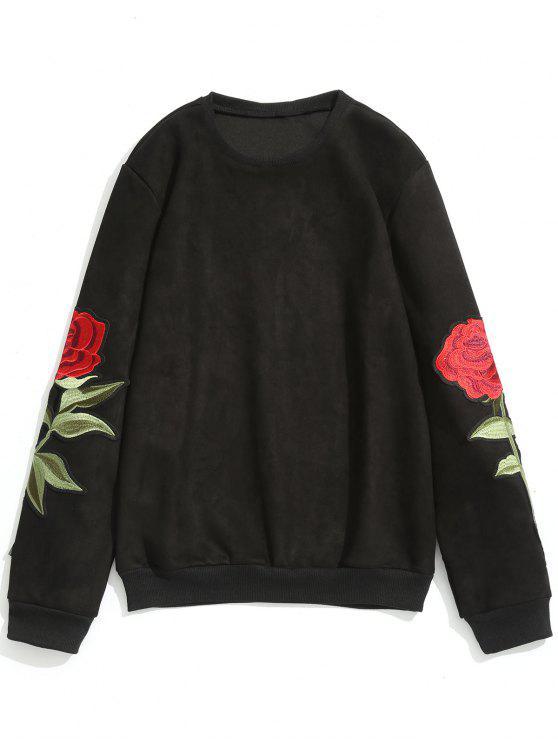 womens Rose Applique Suede Sweatshirt - BLACK L