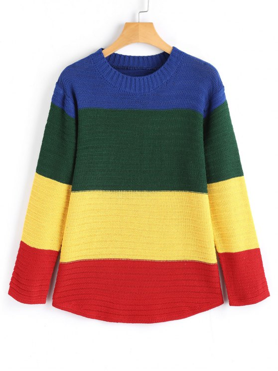 hot Long Sleeve Color Block Pullover Sweater - MULTICOLOR ONE SIZE