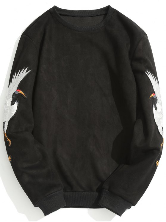 fancy Animal Crane Patch Suede Sweatshirt - BLACK L