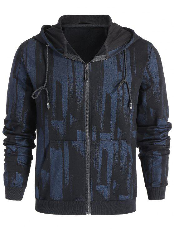 fashion Patterned Zip Up Hoodie - BLACK L