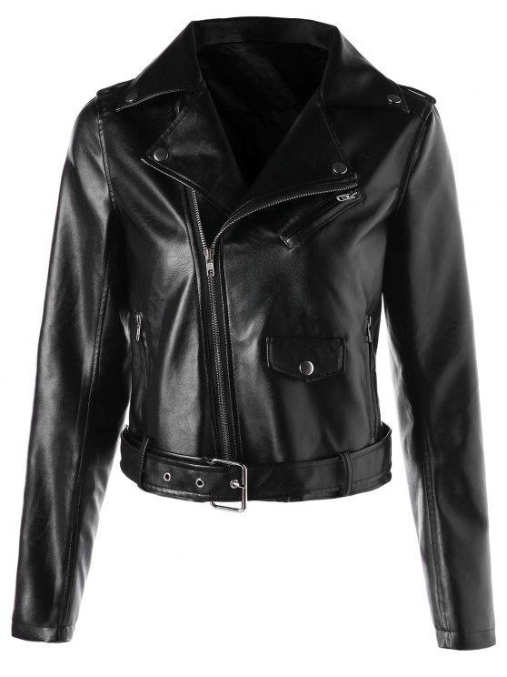 chic Faux Leather Crop Biker Jacket with Belt - BLACK M