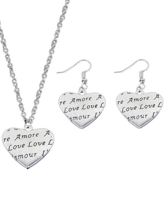 Set incastonato di gioielli del cuore di amore - Cuore di amore