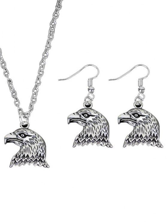 Collana fredda dell'aquila con l'insieme dell'orecchino - Argento