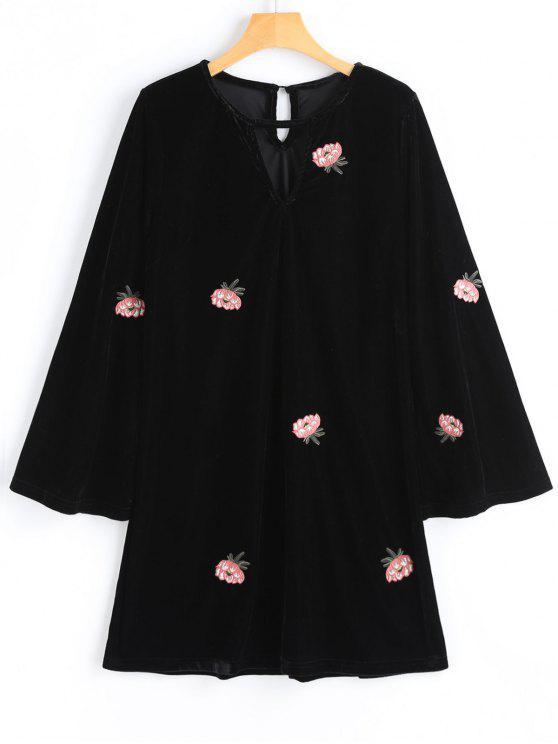 Samt Blumen Besticktes Langarm Kleid - Schwarz S