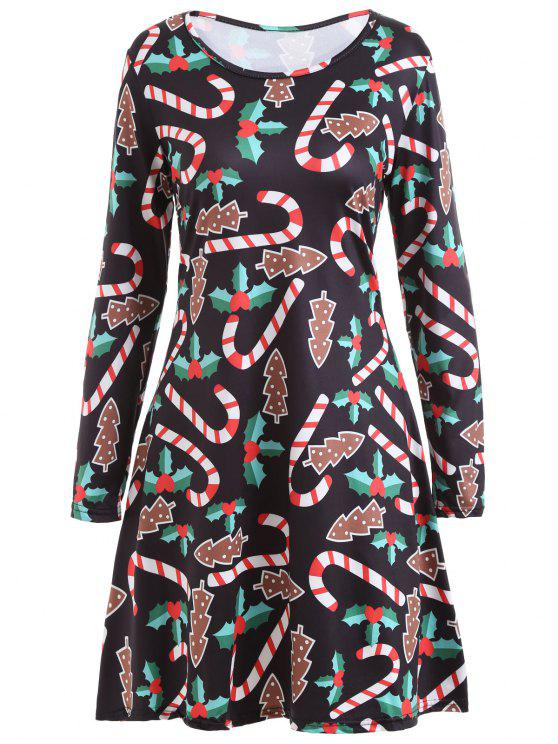 Vestido de mangas largas con estampado de palillos dulces de Navidad - Negro S