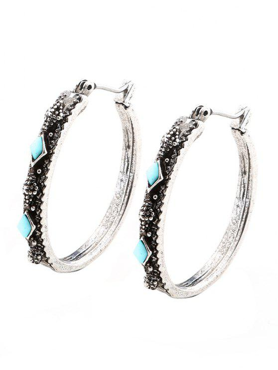 Boucles d'oreilles créoles géométriques Vintage Faux Turquoise - Argent