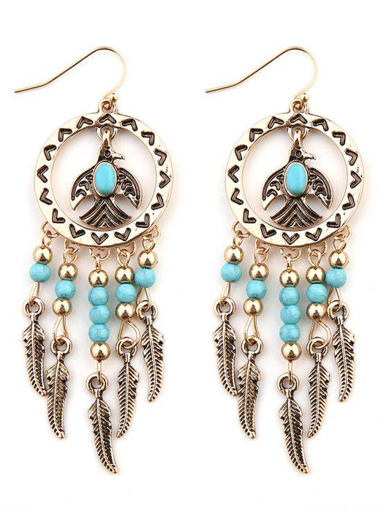 Boucles d'Oreilles Plumes Faux Turquoise Turquoise - Or