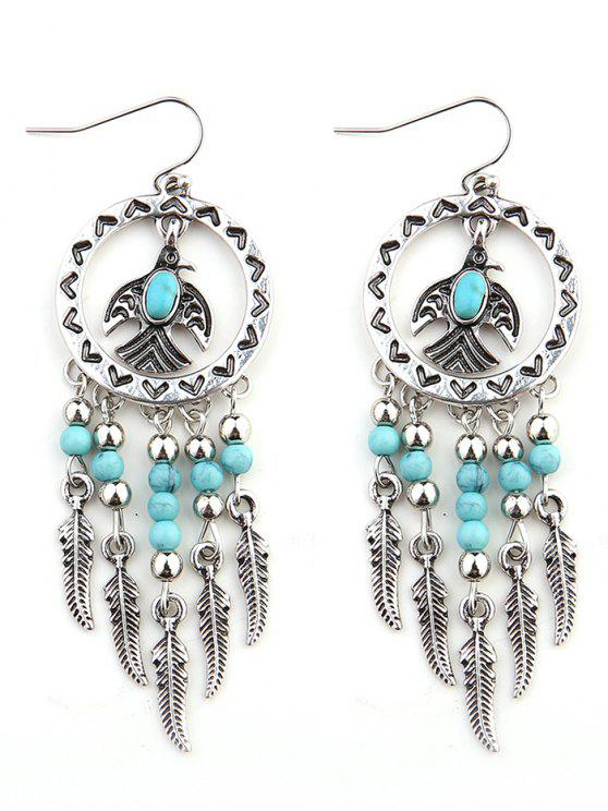 Faux Türkis Perlen Quaste Vogel Feder Ohrringe - Silber