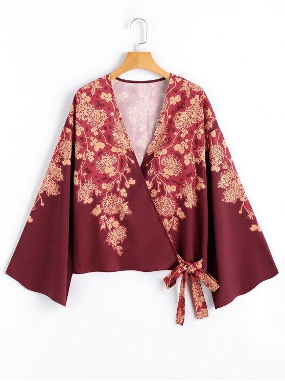 Blumen Kimono Wickel Bluse - Blumen S