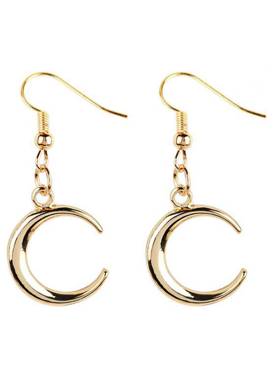 chic Moon Decorated Dangle Earrings - GOLDEN