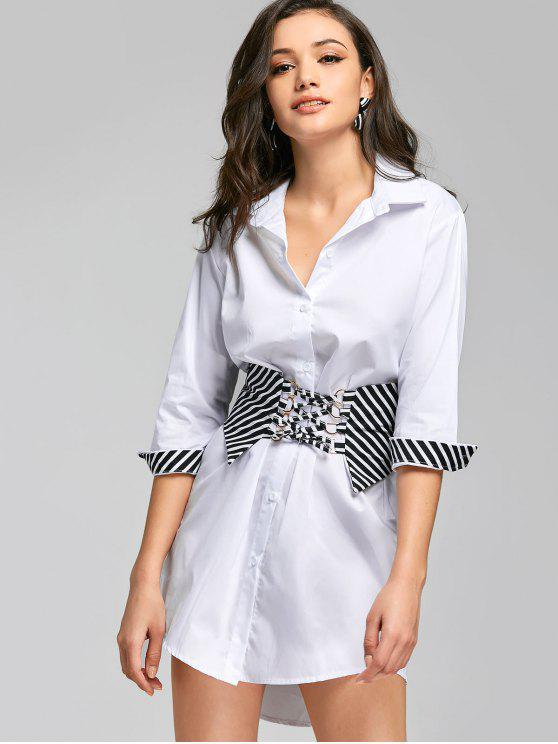 fancy Button Up Belted High Low Shirt Dress - WHITE ONE SIZE