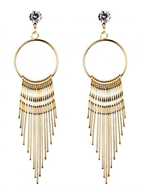 sale Crystal Embellished Metal Long Tassel Dangle Earrings - GOLDEN