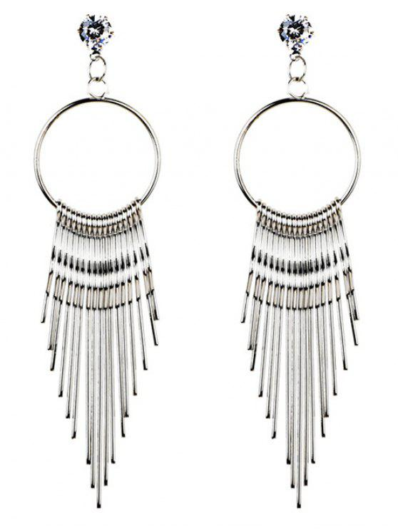 Crystal Embellished Metal Long Tassel Dangle Earrings - Prateado