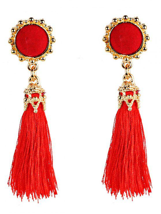 Lady Vintage Boho Style Long Tel Dangle Earrings Red