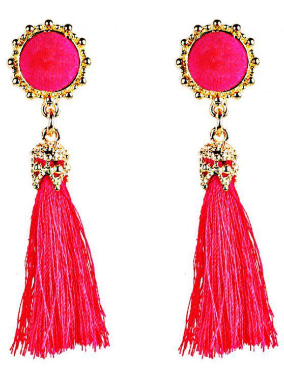 Boucles d'Oreilles avec Pompon Long Style Bohémien Vintage - Rouge Rose