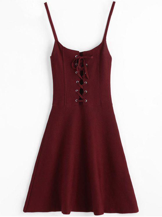 Schnur gebunden Gestricktes Slip Kleid - Weinrot Eine Größe
