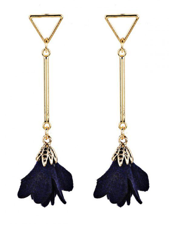 Rose Shape Embellished Tassel Dangle Earrings - Cadetblue