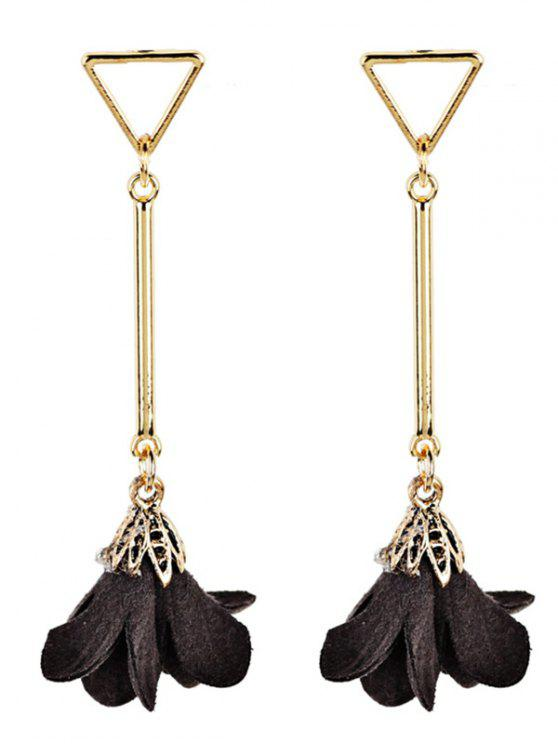 Rose Shape Embellished Tassel Dangle Earrings - Café Expresso