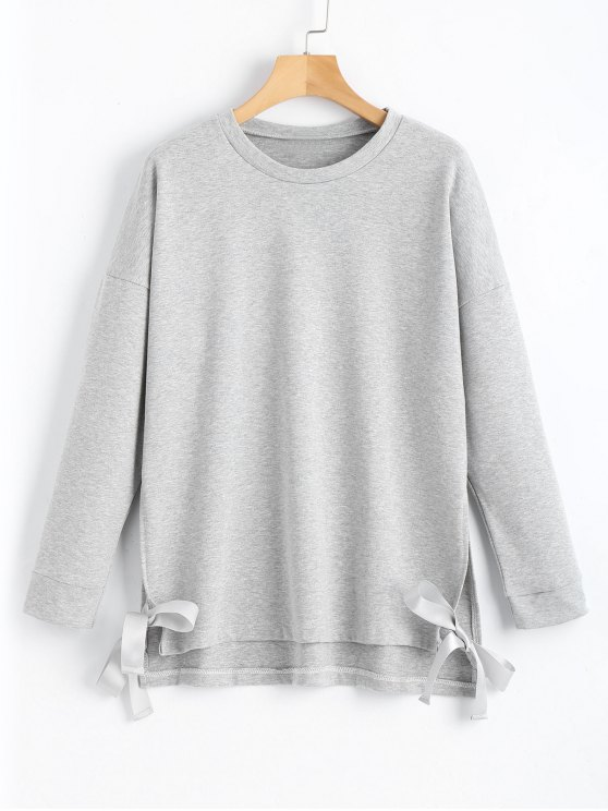 trendy Loose Bow Tied Slit Sweatshirt - GRAY L