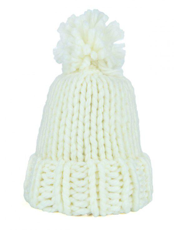 Fuzzy Ball Embellished Straight Needle Thicken Beanie - Bege