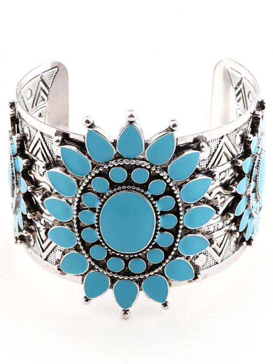 chic Alloy Engraved Flower Teardrop Cuff Bracelet - SILVER