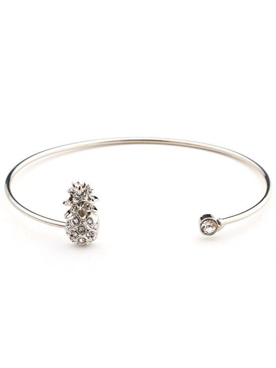 sale Cute Rhinestoned Pineapple Cuff Bracelet - SILVER