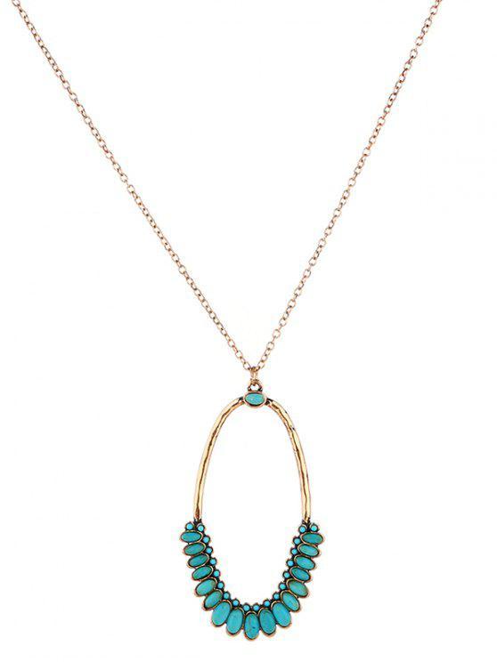 Faux Turquoise Ovale Bohème Pendentif Collier - Or