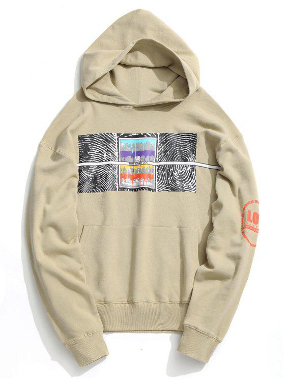 Sudadera con capucha con estampado abstracto de bolsillo delantero - Albaricoque M