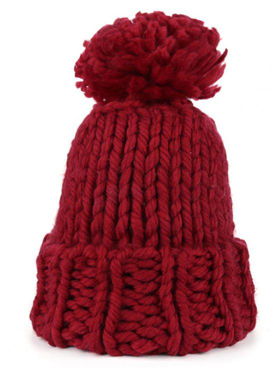 Fuzzy Ball Embellished Straight Needle Thicken Beanie - Borgonha