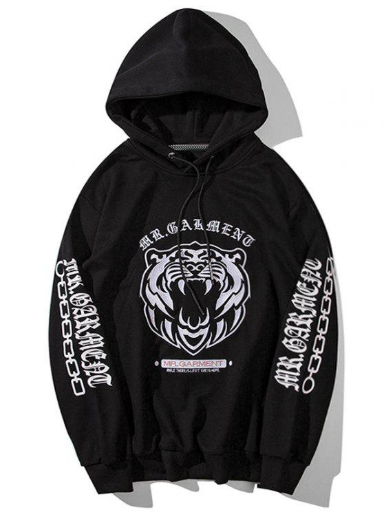 fashion Pullover Embroidered Hoodie - BLACK L