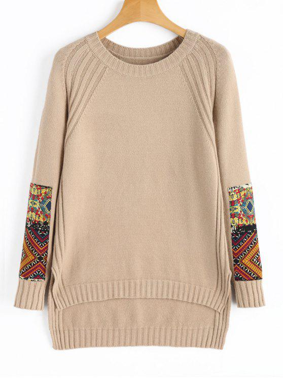 Patched High Low Pullover Sweater KHAKI: Sweaters ONE SIZE | ZAFUL