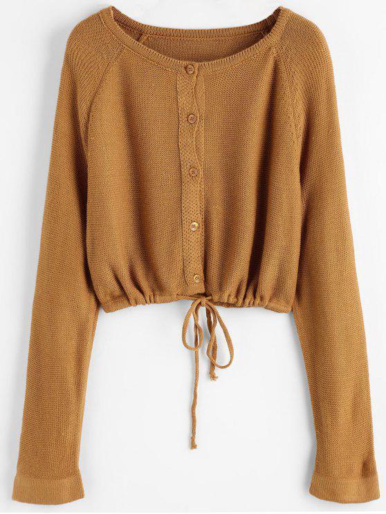 4e75066e39ed 29% OFF] 2019 Button Up Crop Cardigan In LIGHT BROWN | ZAFUL
