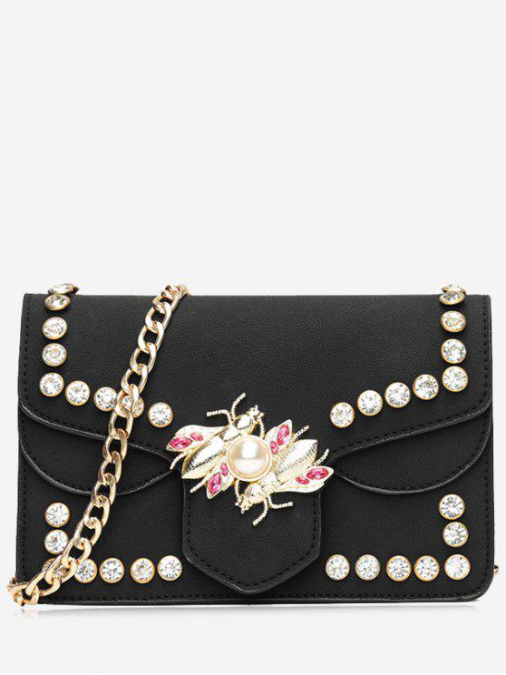 women Faux Pearl Rhinestone Insect Crossbody Bag - BLACK