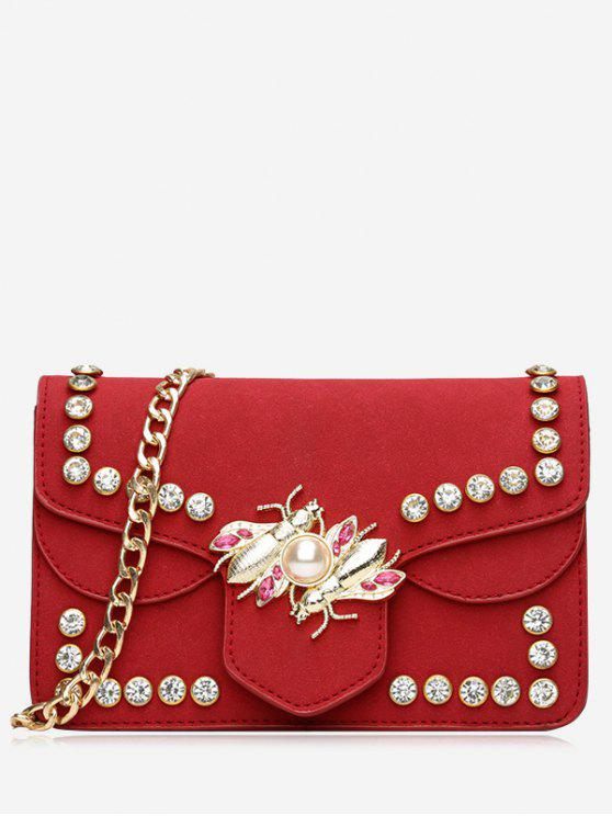 women's Faux Pearl Rhinestone Insect Crossbody Bag - RED