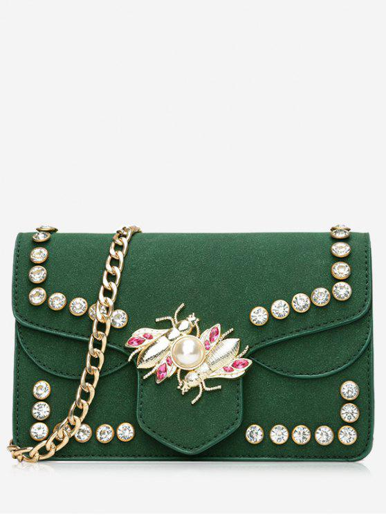 ladies Faux Pearl Rhinestone Insect Crossbody Bag - GREEN