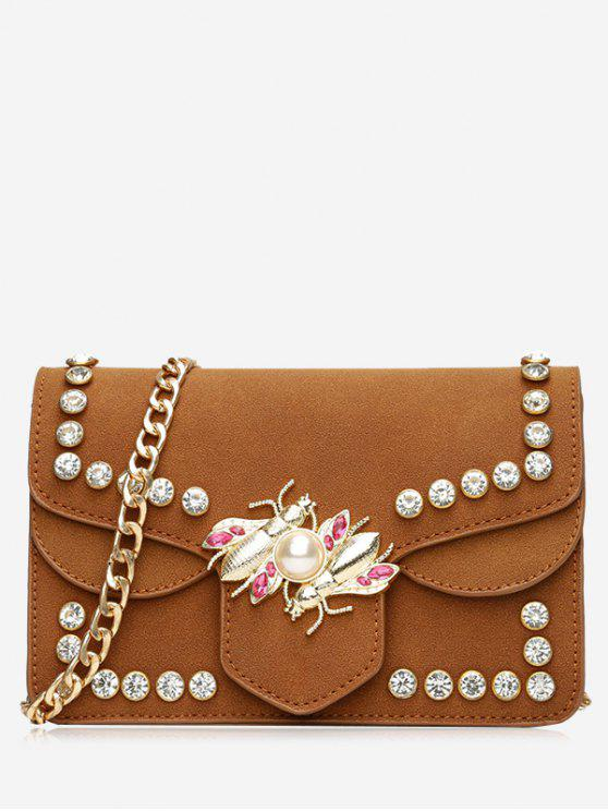 lady Faux Pearl Rhinestone Insect Crossbody Bag - BROWN