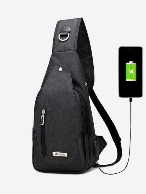 best USB Charging Port Rivet Chest Bag - BLACK