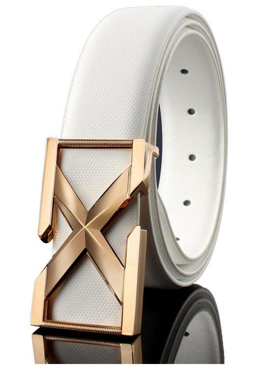 Fibbia in metallo 3D Letter Embellished Cintura Fibbia Automatica - Bianco e Oro 120CM