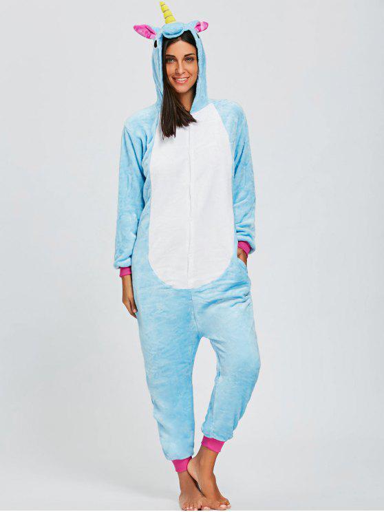 aeb090d89765 34% OFF  2019 Cute Unicorn Animal Onesie Pajama For Adult In BLUE ...