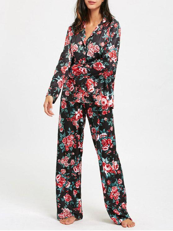 dde9b8e5c106 30% OFF  2019 Long Sleeve Floral Print Pajama Set In COLORMIX