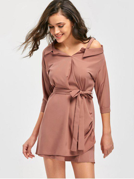 trendy Shirt Collar Mini Belted Dress - BEAN PASTE COLOR ONE SIZE