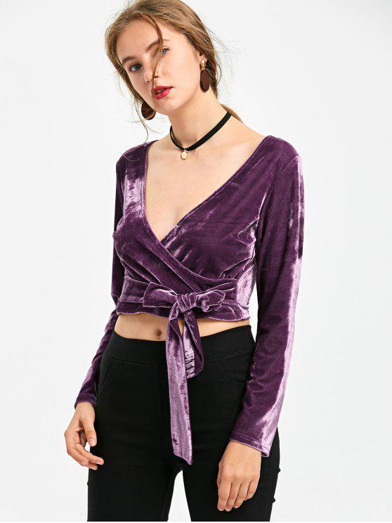 sale Self Tie Velvet Crop Top - PURPLE XL