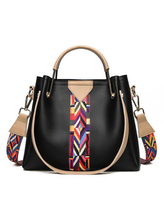 اللون كتلة هندسية حمل حقيبة مجموعة - أسود