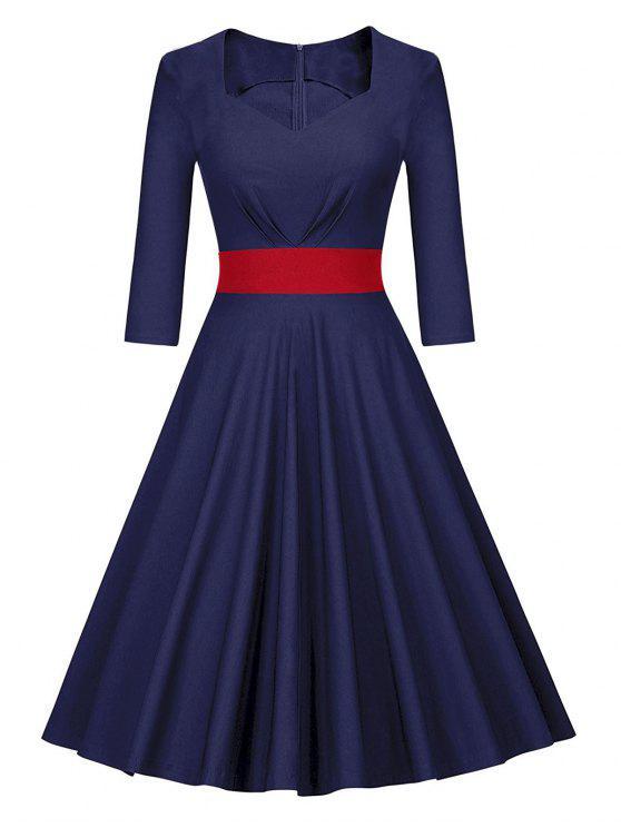 665bc898d34 29% OFF  2019 Vintage Color Block Pin Up Skater Dress In DEEP BLUE ...