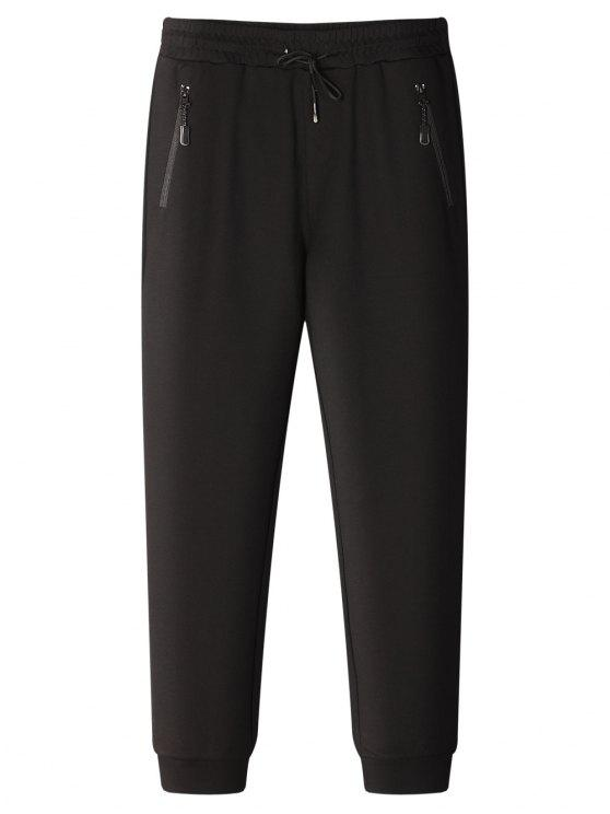 affordable Drawstring Zip Pocket Jogger Pants - BLACK 3XL